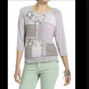 NWT OS One September Gray Patched Lace Top Blouse